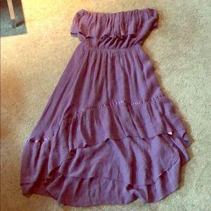 Strapless navy hi-lo dress